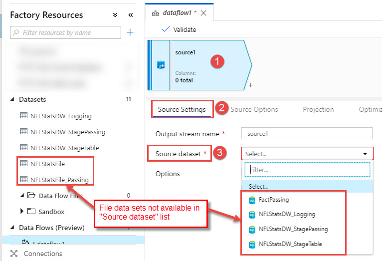 Creating New Azure Data Factory Data Flow File Data Sets